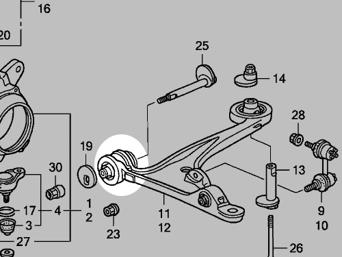 96 civic control arm diagram