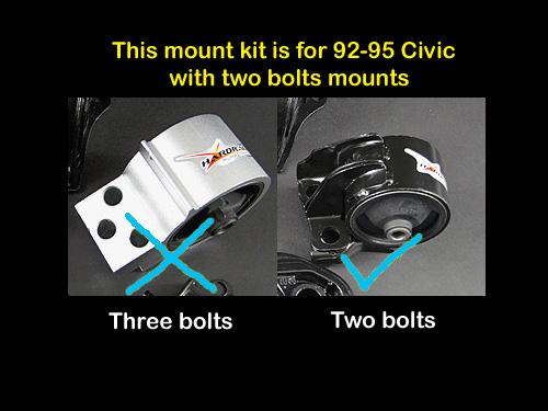 Hardrace Motor Mount Kit 2 Bolts Timing Belt Side Mount